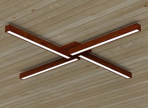 Накладной линейный светильник, платформа4 (масло махагон)